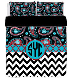 Gypsy Paisley and Chevron Black Red & Turquoise Bedding