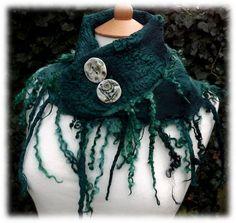 Mermaid Cowl - rustic cowl- nuno  felted scarf