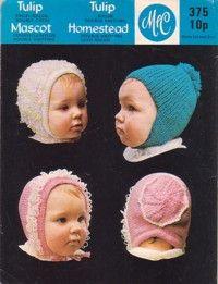Midgley and Catton Knitting Pattern 375, Baby Hats