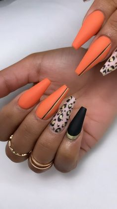 Leopard print nail art coffin nails Source by . Bright Summer Acrylic Nails, Best Acrylic Nails, Summer Nails, Orange Acrylic Nails, Neon Orange Nails, Dope Nails, Glam Nails, Classy Nails, Stylish Nails