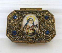Vintage Virgin Mary Blue Jewels Religious Box
