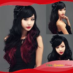 Black and Red Ombre Wig | $14.90