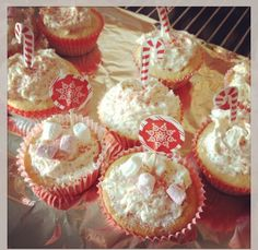Candy cane cup cakes made by me!