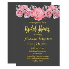 Floral bridal shower gray and pink gold letters card - wedding invitations cards custom invitation card design marriage party