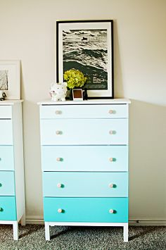 ombre dresser.. But I could paint the whole thing brown and paint the drawers different shades of pink