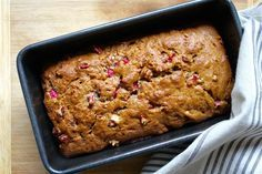 This easy-to-make quick bread gets a lovely warmth from the cinnamon and brown sugar, balanced by nuggets of tart rhubarb.