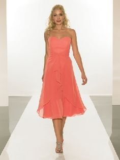 Graceful Orange Chiffon Strapless Ruched and Multilayer Tea Length /Evening Party Dresses comes in all colors