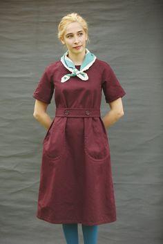 Old Town Jaywick smock dress Maroon Shirt Weight Drill