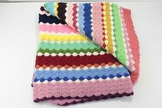 """Find many great new & used options and get the best deals for Vintage Vibrant Striped Popcorn Crocheted Afghan Couch Blanket 75""""x45"""" Pink Red at the best online prices at eBay! Free shipping for many products! Couch Blanket, Crochet Shell Stitch, Popcorn, Vibrant, Free Shipping, Red, Pink, Ebay, Vintage"""