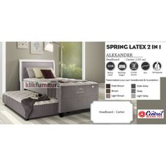 Springbed Central 2in1 ALEXANDER CARTIER Condition:  New product  SERI PREMIUM ARISTOCRATE  SPRING LATEX, ORTHOPEDIC, Corner Guard Tinggi/Tebal Matras : 65 cm Headboard CARTIER : 133 cm Tingkat kekerasan : Firm Tersedia berbagai pilihan warna *FREE ONGKIR untuk wilayah Jawa