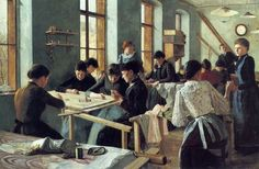 Леди, вышивающие в цехе: Вышивка в живописи. ч.4