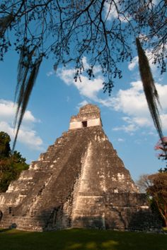 Temple I (Temple of the Giant Jaguar), Tikal mayan archaeological site, Guatemala  Artist: Sergio Pitamitz