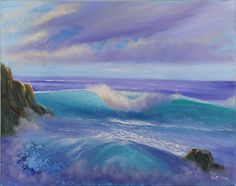 """Original Seascape Oil Painting Ocean Waves, Handmade Wall Art, Ready to ship, No Frame Required, Awakening 28x22"""". Original large realistic seascape oil painting """"Awakening"""" captures the moment right after sunrise when the colors are saturated and fresh. We witness the nature awakening in all its power and glory. Just imagine: you are standing by the ocean, and you hear only breaking waves and watch the sky metamorphosis. The voice of the ocean fills you with calmness and harmony, clear..."""