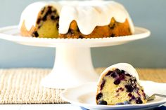 Blueberry-Lemon Buttermilk Bundt Cake - A wonderfully moist cake full of plump blueberries and topped with a sugar glaze.