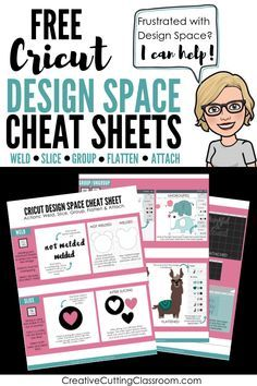 Frustrated with Cricut Design Space? I can help! Grab these free Cricut Design Space cheat sheets! Learn the five actions of Cricut Design Space: weld, slice, group, flatten and attach. How To Use Cricut, Cricut Help, Cricut Explore Projects, Cricut Explore Air, Cricut Air 2, Cricut Vinyl, Buy Vinyl, Cricut Mat, Cricut Cuttlebug