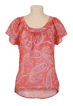 High-Low Chiffon Paisley Print Top available at #Maurices