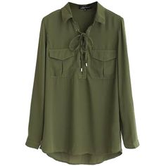 Chicnova Fashion V Neck Tie Front Blouse ($20) ❤ liked on Polyvore featuring tops, blouses, v neck blouse, tie front blouse, green blouse, green top and v-neck tops
