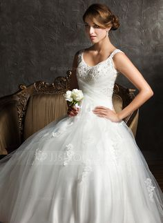 Wedding Dresses - $224.99 - Ball-Gown V-neck Sweep Train Satin Tulle Wedding Dress With Ruffle Lace Beadwork Sequins (002008170) http://jjshouse.com/Ball-Gown-V-Neck-Sweep-Train-Satin-Tulle-Wedding-Dress-With-Ruffle-Lace-Beadwork-Sequins-002008170-g8170?ver=xdegc7h0