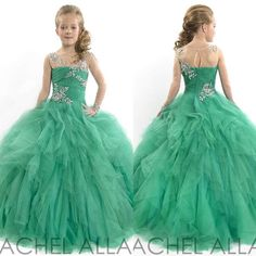 Wholesale Flower Girl's Dresses - Buy 2015 Lovely Green Jewel Puffy Tulle Pageant Dresses Crystals Layered Princess Little Flower Girl with Long Sleeve Custom Made 2014, $95.38 | DHgate.com