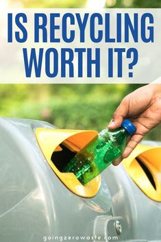 Is recycling worth it?  I'm sharing my thoughts on recycling and other things you can do along with recycling to go zero waste. #ecofriendlytips #recycling Recycling Bins, Recycling Center, Recycling Programs, Zero Waste, Reduce Waste, Save Mother Earth, Electricity Consumption, Green Living Tips, Herbal Magic