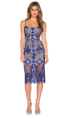 BCBGMAXAZRIA Sheer Lace Dress in Orient Blue Combo | REVOLVE
