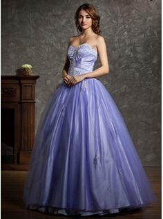 A-Line/Princess Sweetheart Floor-Length Satin  Tulle Quinceanera Dresses With Beading (021004601)