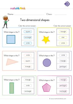 Hey kiddos, its amusement time. graders will gain inspiration as they get engaged in our basic Two-dimensional shapes activity.These inspirational math bundles have been designed for kids who want to master names of basic shapes in a super fun way. Geometry Worksheets, 1st Grade Math Worksheets, Shapes Worksheets, First Grade Math, Worksheets For Kids, Printable Worksheets, Grade 1, Two Dimensional Shapes, Name Activities