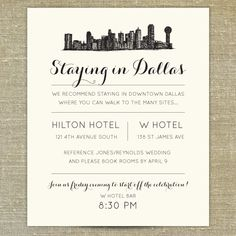 Dallas Skyline Destination Wedding Invitation By PixieChicago