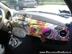 0099057 Car Wrapping Fiat 500 Stickerbombing stikerbomb
