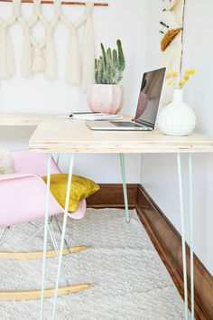 Transformable Hairpin Leg Desktop DIY  - A Beautiful Mess