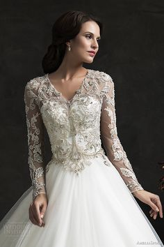 amelia sposa 2015 bridal leonor ball gown weddding dress long sleeve embellished top close up