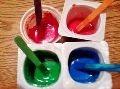 Fingerpaint   1/3 cup plain flour  1/3 cup water  1 tablespoon glycerine  food coloring  Directions:  1 Combine flour & water well.  2 Stir in glycerine & food colouring.  3 Repeat to make different colours & then let the kids go for their life.