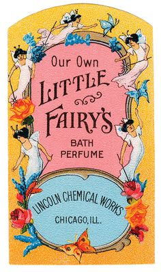 Free Graphic of the Day Vintage Perfume Label with Little Fairy's