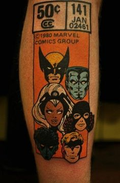 Retro X-Men Comic Book Tattoo=SIIIIIIIIIICKKKKKKK