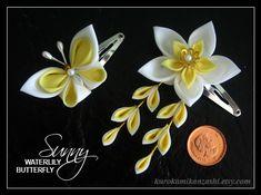 Sunny Waterlily and Butterfly Doll's Kanzashi by Kurokami-Kanzashi.deviantart.com on @deviantART