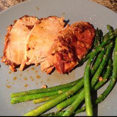 Bacon marinaded pork loin w/ pan seared asparagus.