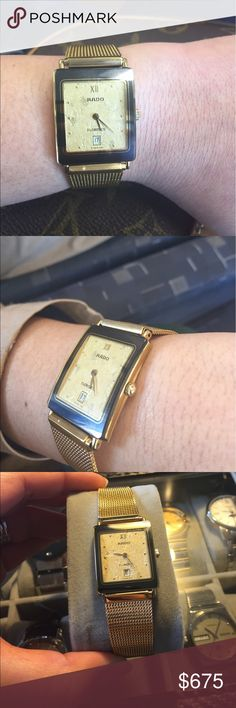 Rare 14k Face Authentic Rado Sapphire Crystal 💕bundles for discounts💕 this is a beautiful rare to find vintage watch with 14k gold face with non-rado strap. Automatic and functions perfectly. This is a unisex watch. Theres a minor chipping on the crown where the arrow sign of rado logo located. Pls check the photo for the back area. 🚫trades🚫 Rado Accessories Watches
