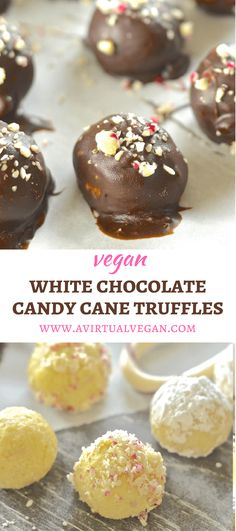 These festive Vegan White Chocolate Candy Cane Truffles are meltingly rich, sweet, creamy & indulgent.