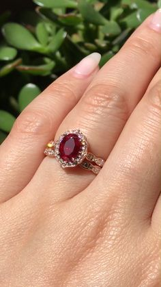 Our signature Vintage Floral collection features many center stones like this oval Ruby bridal set See more Vintage Floral bridal sets by La More Design! Ruby Wedding Rings, Bridal Rings, Ruby Rings, Wedding Gold, Gold Ruby Ring, Pink Rings, Pink Stone Rings, Antique Wedding Rings, Ruby Diamond Rings