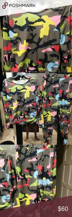 Multi Colored Pants set size Lrg Gorg fashion multi color fun pants set size Large. Speaks for itself plenty of stretch if needed.  Thin material very comfy. Happy Posh! none Pants Track Pants & Joggers