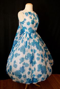 Lovely 1950's sheer blue floral chiffon new look shawl back party dress vlv rockabilly Mad Men chic