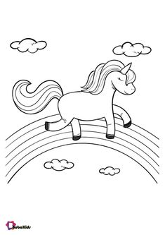 Cute unicorn walking on rainbow coloring page | BubaKids.com Coloring Pages Nature, Star Coloring Pages, Unicorn Coloring Pages, Online Coloring Pages, Coloring Pages For Girls, Free Printable Coloring Pages, Coloring Sheets, Coloring Books, Free Coloring