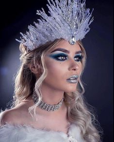 Ice snow queen crown costume makeup look inspiration by Jade Harrison and Chris . - Ice snow queen crown costume makeup look inspiration by Jade Harrison and Chris Cote… - Snow Queen Makeup, Snow Makeup, Maquillage Halloween, Halloween Makeup, Fairy Costume Makeup, Fairy Costumes, Fairy Makeup, Mermaid Makeup, Ice Makeup