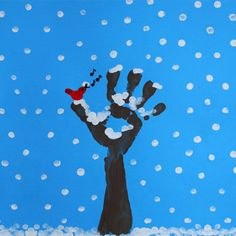 Finger painting: Winter Tree : Winter is here and the trees have lost all their leaves, but their bare branches covered with snow make them beautiful and unique. Here is how to use finger painting to paint a winter tree. Winter Art Projects, Winter Project, Winter Crafts For Kids, Preschool Winter, January Art, January Crafts, Winter Trees, Winter Fun, Winter Activities