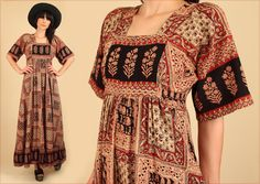 ViNtAgE 70's INDIAN Block Print Cotton Maxi by hellhoundvintage