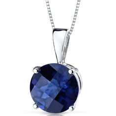 14k White Gold Round Blue Sapphire Solitaire Pendant Necklace #JRyanFineJewelry #DropDangle