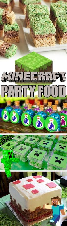 Minecraft party ideas galore! Everything you need to know to figure out how to throw a Minecraft party! Minecraft cakes, creeper cookies, minecraft cupcakes, treat and food table ideas, and more! #tableideas