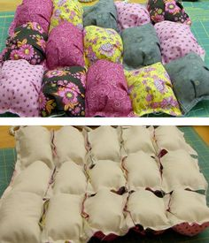 Learn a streamlined technique to make an easy puff quilt. These lush comforters are sometimes called biscuit quilts and can be used in many ways. Quilting For Beginners, Quilting Tips, Quilting Tutorials, Quilting Projects, Quilting Designs, Pach Aplique, Biscuit Quilt, Puffy Quilt, Bubble Quilt
