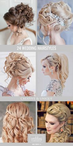 24 Creative & Unique Wedding Hairstyles ❤ From creative hairstyles with romantic, loose curls to formal wedding updos, these unique wedding hairstyles would work great either for your ceremony or for your reception. See more: http://www.weddingforward.com/creative-unique-wedding-hairstyles/ #weddings #hairstyles