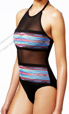 La Blanca Mesh Overlay High Neck Halter Sheer Black One Piece Swimsuit 6 Nwt #LaBlanca #OnePiece